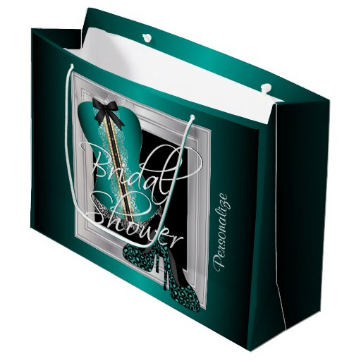 Glamorous Lingerie Bridal Shower | Teal Large Gift Bag