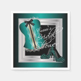 Glamorous Lingerie Bridal Shower   Teal Napkin