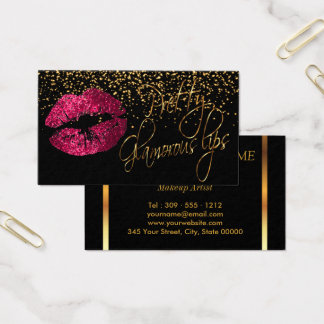 Glamorous Lips with Gold Confetti & Hot Pink Lips Business Card