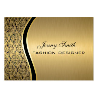 Glamorous luxury golden  damask large business cards (Pack of 100)