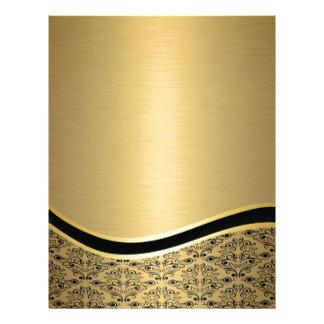 Glamorous luxury golden  damask monogram letterhead