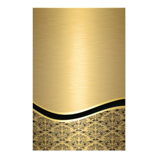 Glamorous luxury golden  damask monogram custom stationery