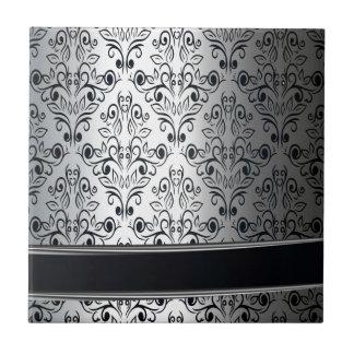 Glamorous luxury silver damask monogram ceramic tile
