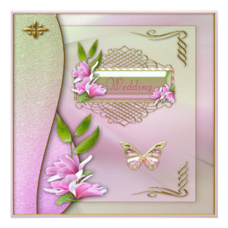 Glamorous Magnolia & Butterfly Wedding Card