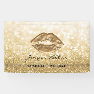 Glamorous modern chic faux gold lips glittery banner