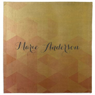 Professional Business GLAMOROUS ORANGE GOLD FAUX TRIANGULAR PATTERN CLOTH NAPKIN