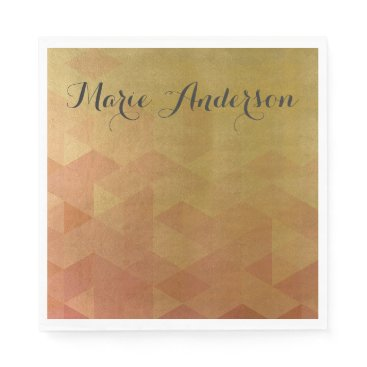 Professional Business GLAMOROUS ORANGE GOLD FAUX TRIANGULAR PATTERN NAPKIN