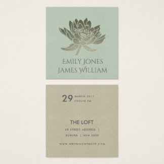 GLAMOROUS PALE BLUE SILVER LOTUS FLORAL WEDDING SQUARE BUSINESS CARD
