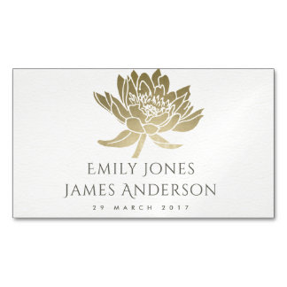GLAMOROUS PALE GOLD WHITE FLORAL SAVE THE DATE BUSINESS CARD MAGNET