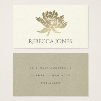 GLAMOROUS PALE GOLD WHITE LOTUS FLORAL  ADDRESS BUSINESS CARD