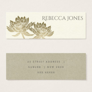 GLAMOROUS PALE GOLD WHITE LOTUS FLORAL  ADDRESS MINI BUSINESS CARD
