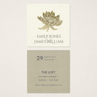 GLAMOROUS PALE GOLD WHITE LOTUS FLORAL WEDDING SQUARE BUSINESS CARD