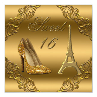 Glamorous Paris Gold Glitter High Heels Sweet 16 5.25x5.25 Square Paper Invitation Card