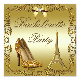 Glamorous Paris Gold Glitter Shoes Bachelorette Card