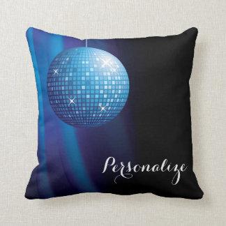 Glamorous Personalized Blue Disco Ball Throw Pillow