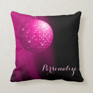 Glamorous Personalized Hot Pink Disco Ball Throw Pillow