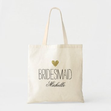 Valentines Themed Glamorous PersonalizedBridesmaid Glitter Heart Bag