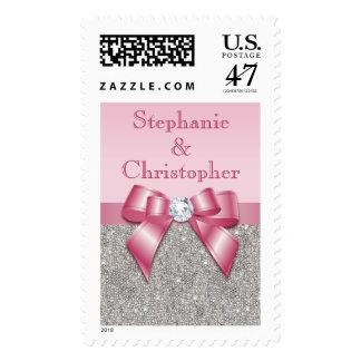 Glamorous Pink Bow & Diamonds Wedding, Engagement Postage