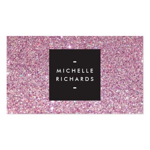 Glamorous Pink Glitter Modern Beauty Business Card Templates