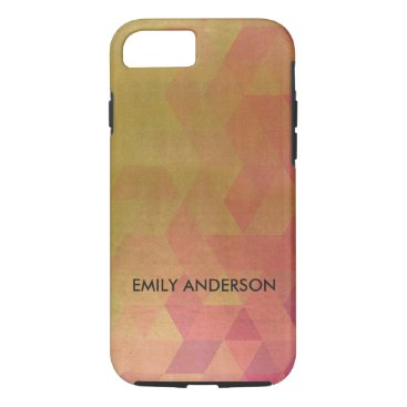 Professional Business GLAMOROUS PINK GOLD FAUX TRIANGULAR PATTERN iPhone 8/7 CASE