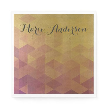 Professional Business GLAMOROUS PINK GOLD FAUX TRIANGULAR PATTERN NAPKIN