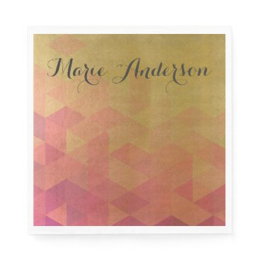 Professional Business GLAMOROUS PINK GOLD FAUX TRIANGULAR PATTERN PAPER NAPKIN