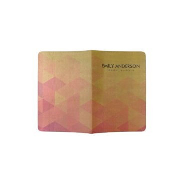 Professional Business GLAMOROUS PINK GOLD FAUX TRIANGULAR PATTERN PASSPORT HOLDER