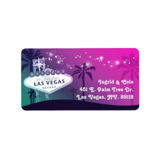 Glamorous Pink Las Vegas Wedding Label
