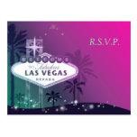 Glamorous Pink Las Vegas Wedding RSVP Postcard