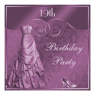 Glamorous Purple Ball Gown 19th Birthday Party Card