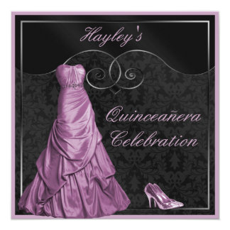 Glamorous Purple Ball Gown Black Quinceanera Card