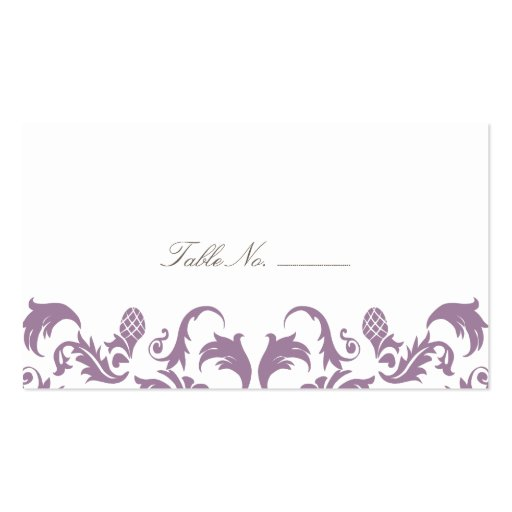 Glamorous Purple Damask Guest Table Escort Cards Business Card