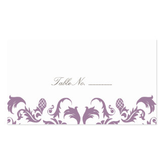 Glamorous Purple Damask Guest Table Escort Cards Double-Sided Standard Business Cards (Pack Of 100)