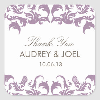 Glamorous Purple Damask Wedding Favor Stickers