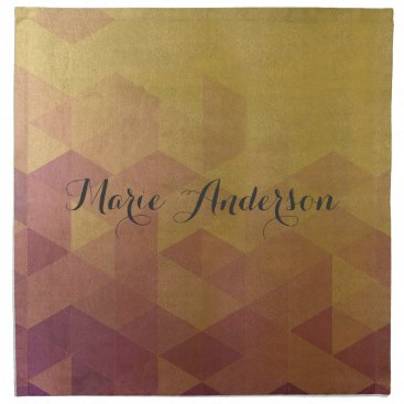 Professional Business GLAMOROUS PURPLE GOLD FAUX TRIANGULAR PATTERN NAPKIN