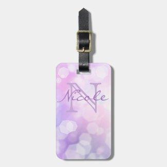 Glamorous Purple Sparkle Monogram Luggage Tag