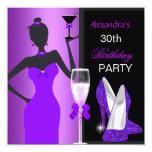 Glamorous Purple Wild Birthday Party Girl 5.25x5.25 Square Paper Invitation Card