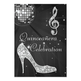 Glamorous Quinceañera Disco Ball and Sparkle Heels Card