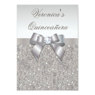 Glamorous Quinceañera Faux Silver Sequins and Bow 5x7 Paper Invitation Card