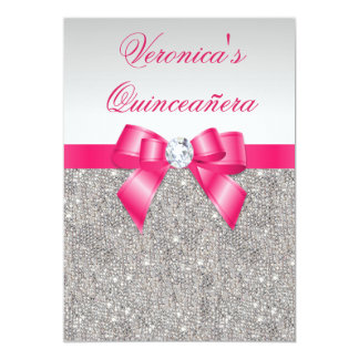 Glamorous Quinceañera Silver Sequins Hot Pink Bow Card