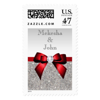 Glamorous Red Bow & Diamonds Wedding, Engagement Postage