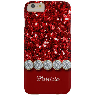 Glamorous Red Glitter And Sparkly Diamonds Case Barely There iPhone 6 Plus Case