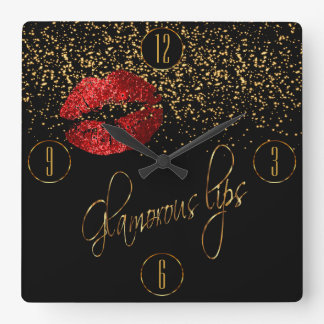 Glamorous Red Lips and Gold Confetti Square Wall Clock