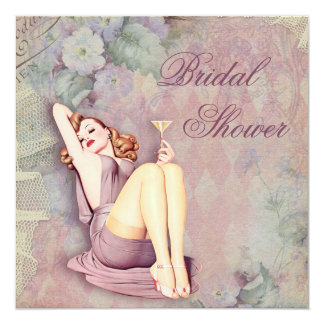 Glamorous Retro Pin Up Girl Bridal Shower Card