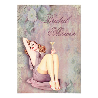 Glamorous Retro Pin Up Girl Bridal Shower Custom Announcements
