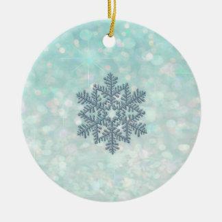 Glamorous Romantic Glittery sparkle snowflake Ceramic Ornament