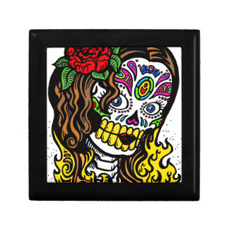 Glamorous Rose Sugar Skull Jewelry Box
