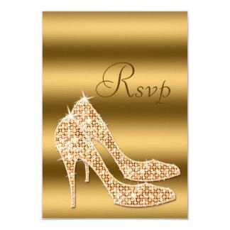 Glamorous RSVP Gold Stilettos 3.5x5 Paper Invitation Card
