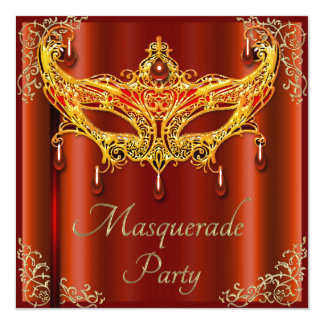 Glamorous Ruby Mask Masquerade Party Card