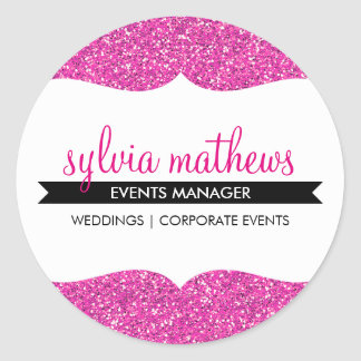 GLAMOROUS SEAL stylish glitter sparkle bright pink Classic Round Sticker